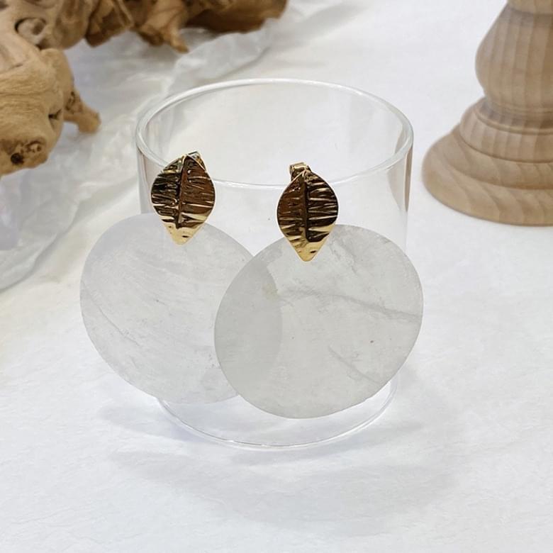 韓國空運 - Noi Leaf mother-of-pearl nickel earrings 耳環