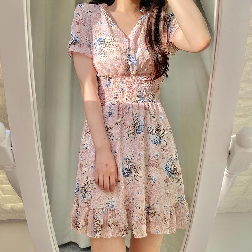 Hey Lin Flower Shirring Smoke Mini Dress 3colors