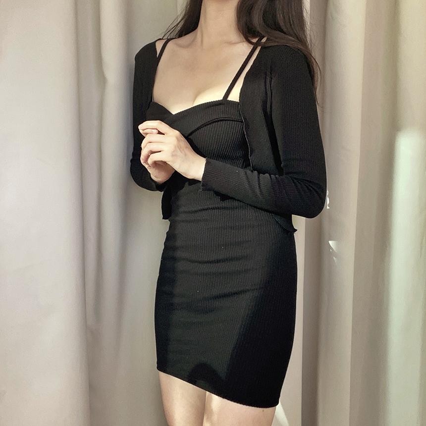 Heirin Twist Dress Set Cardigan 4colors