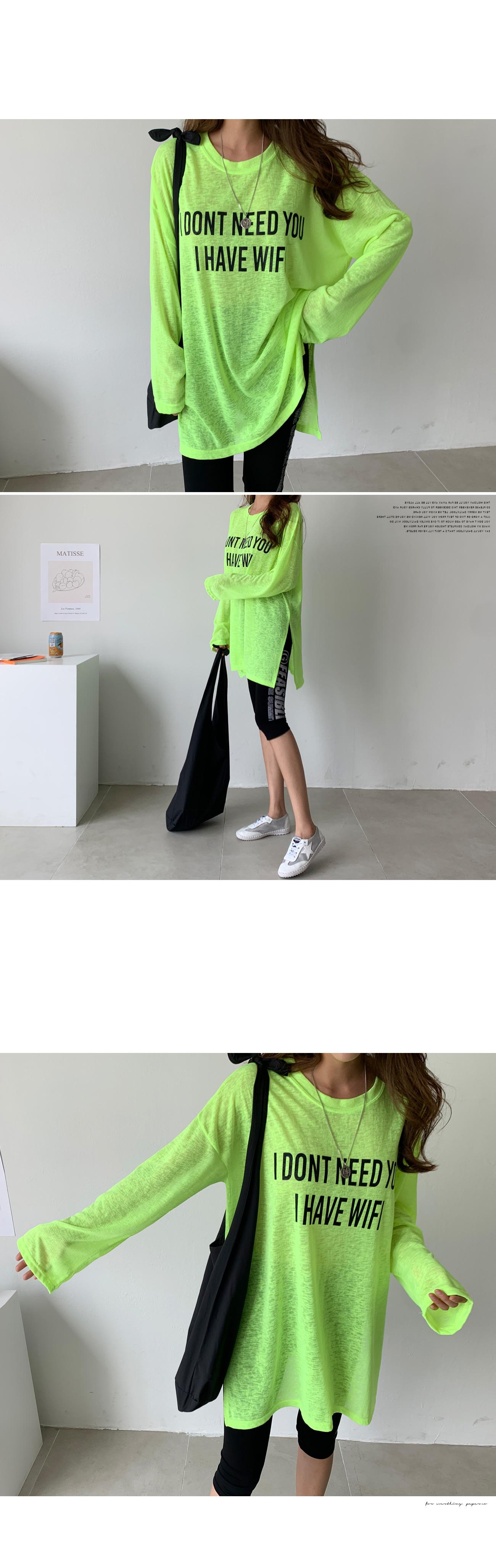 Printing Split Long T-shirt #108258