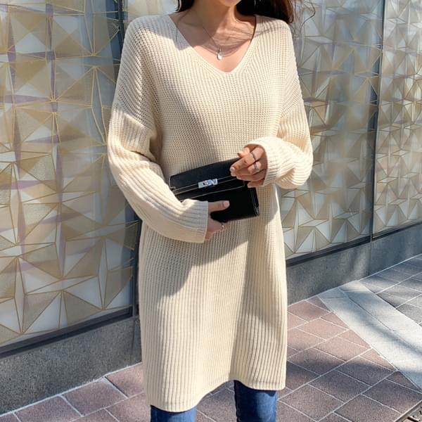 Feminine Beauty V-Neck Long Sleeve Knit #37461
