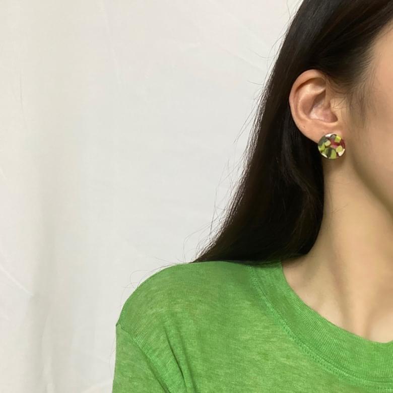 Noi Summer Celluloid Nickel Needle Earrings