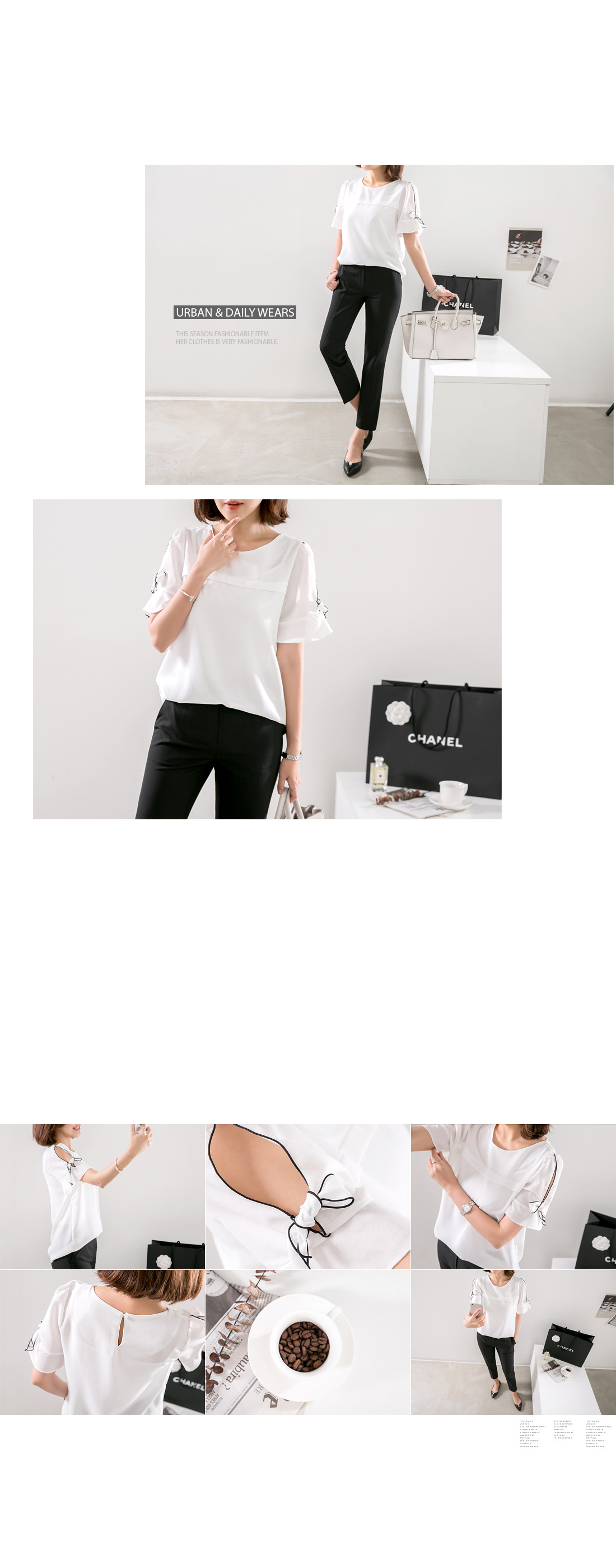 No. Retail Sleeve Ribbon Point Blouse #42706