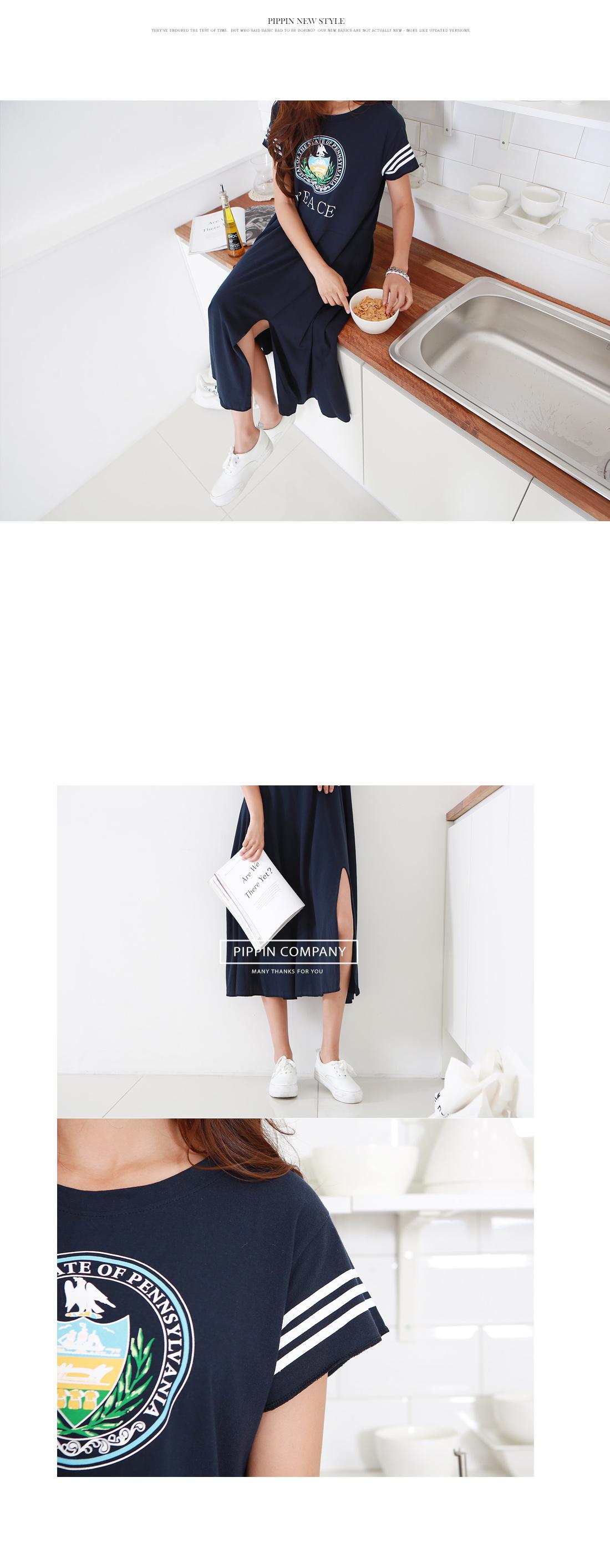 Feet Lettering Long Dress #34706