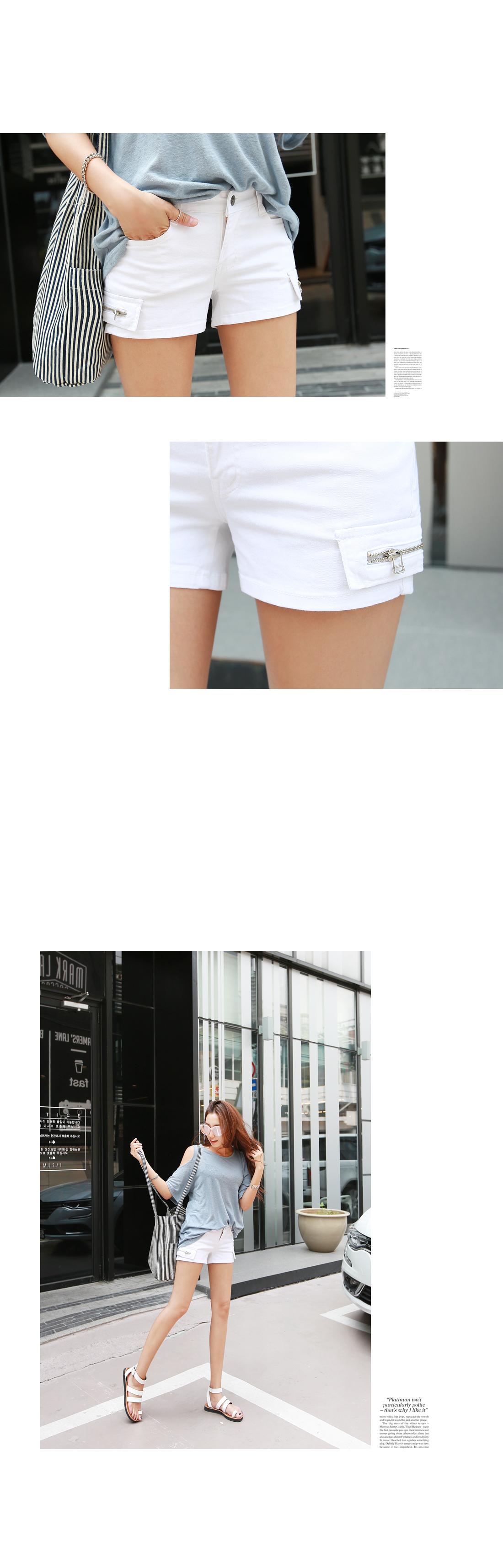 Social Zipper Short Pants #73038