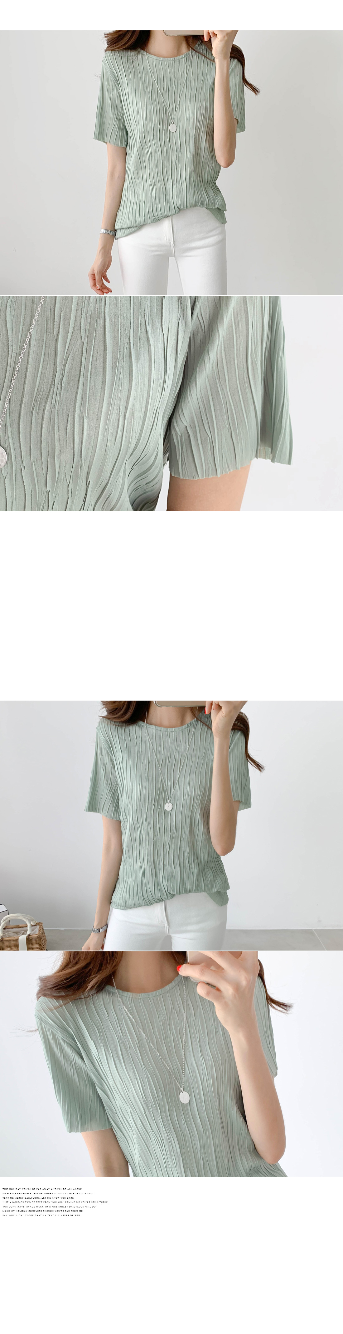 Pleated round blouse #44539