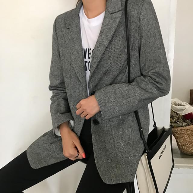 Lining herringbone jacket