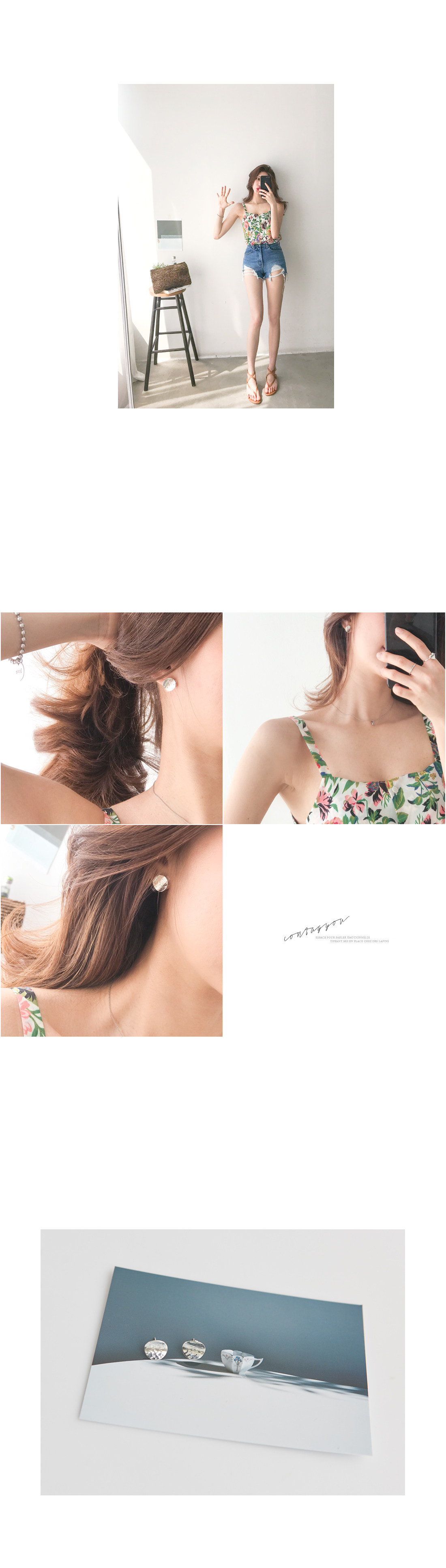 Round silver earrings #84621