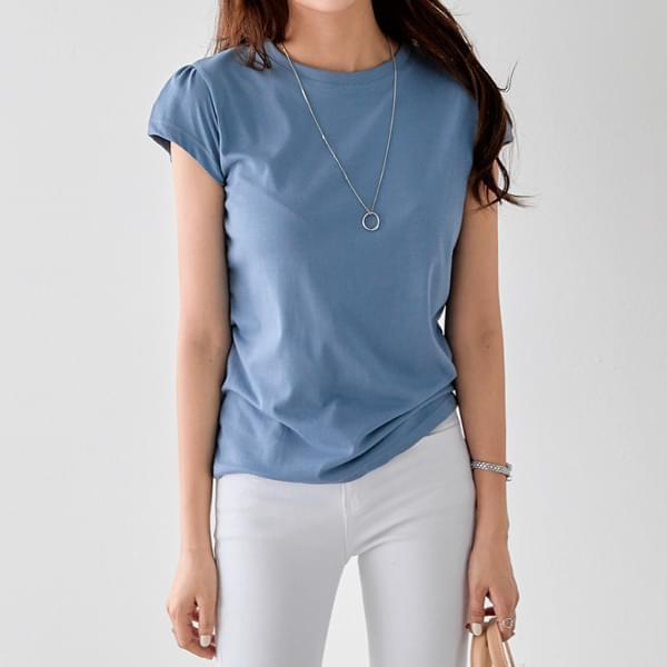 Feminine Shirring Cap Sleeve T-shirt #107147