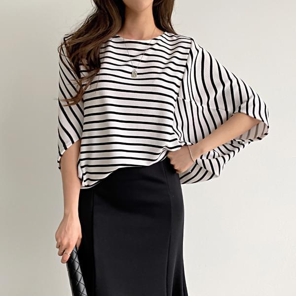 Wrinkle-free striped T-shirt #108166