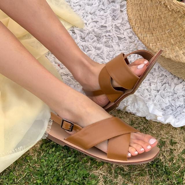 Wide cross strap sandals