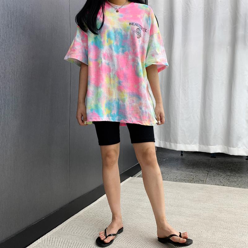 Teaful Rainbow Printing Short Sleeve Tee