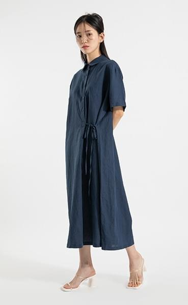 Ilo linen side strap midi dress