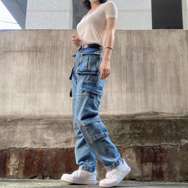 Carryover Split pocket denim hip pants 2colors
