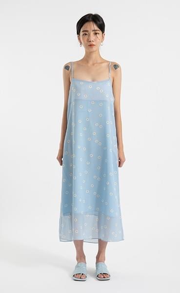 Daisy see-through slip maxi dress