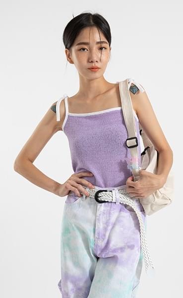 Towel color line sleeveless top