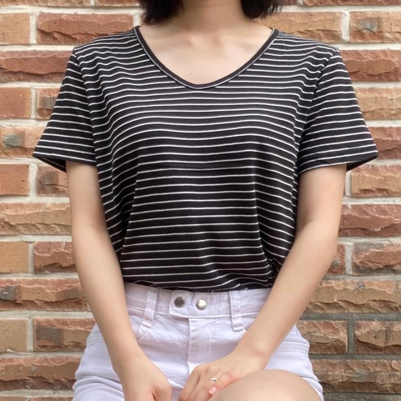Carryover V-neck Striped Linen Short Sleeve Tea 6colors