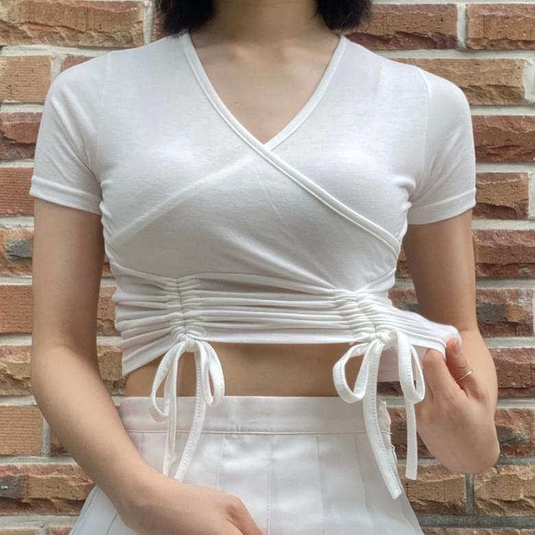 Carry Back Wrap String Slim Short Sleeve Tee 5colors