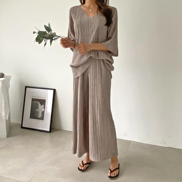 Wrinkle-free loose fit pleats set #92547F available★Exclusive special price 4,000won discount★