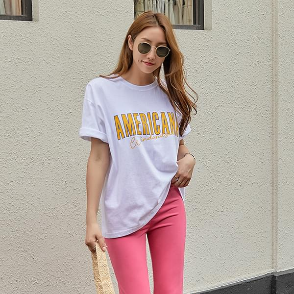 Loose Fit Lettering T-shirt #108274F