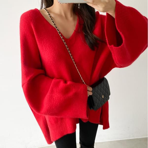 Loose Fit Sheep V Neck Knit #107872