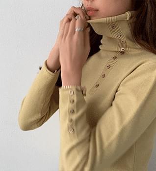 韓國空運 - Button Detail Turtleneck T-Shirt #107700 長袖上衣