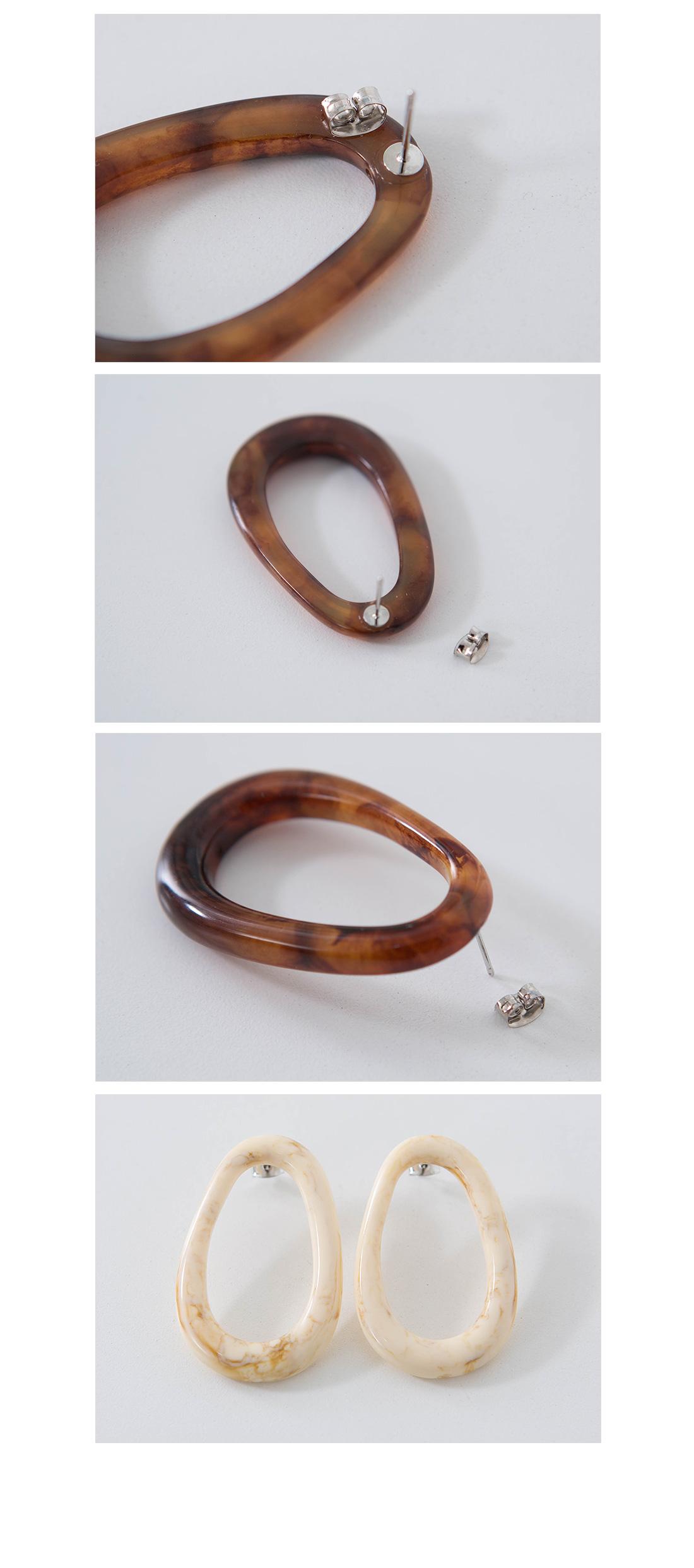 Egg shape wood pattern earrings #85325