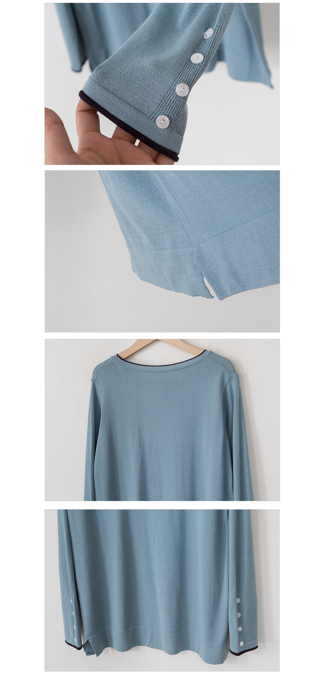 Knit T-shirt with button point line #106965