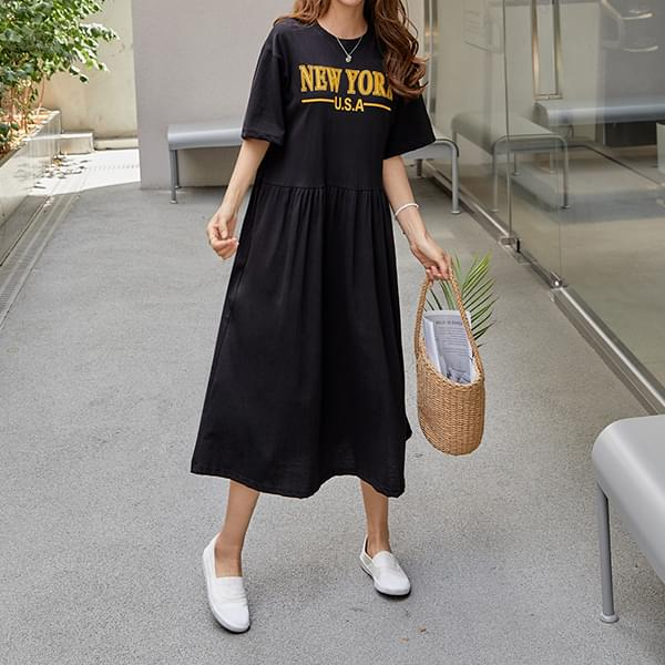 New York Printing Long Dress #37574