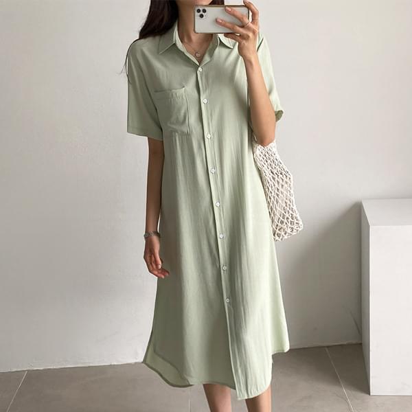 Waistband Shirt Long Dress #37611