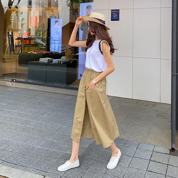 / Wrap style wide skirt pants #75811