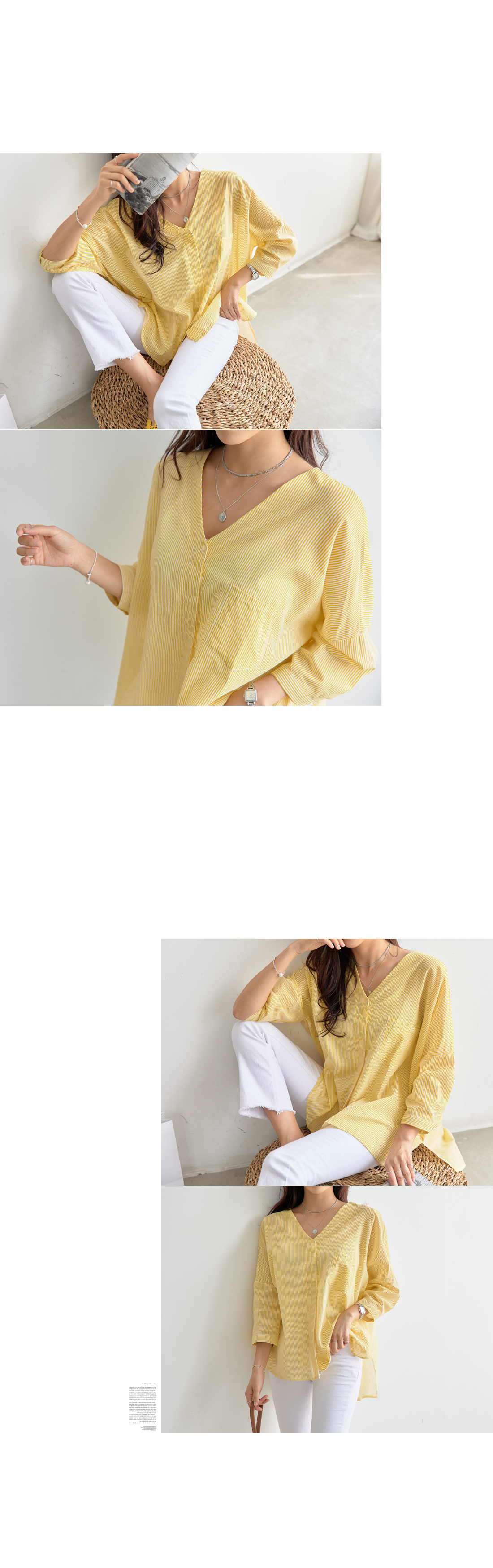 Rare V Neck Hidden Button Blouse #44152