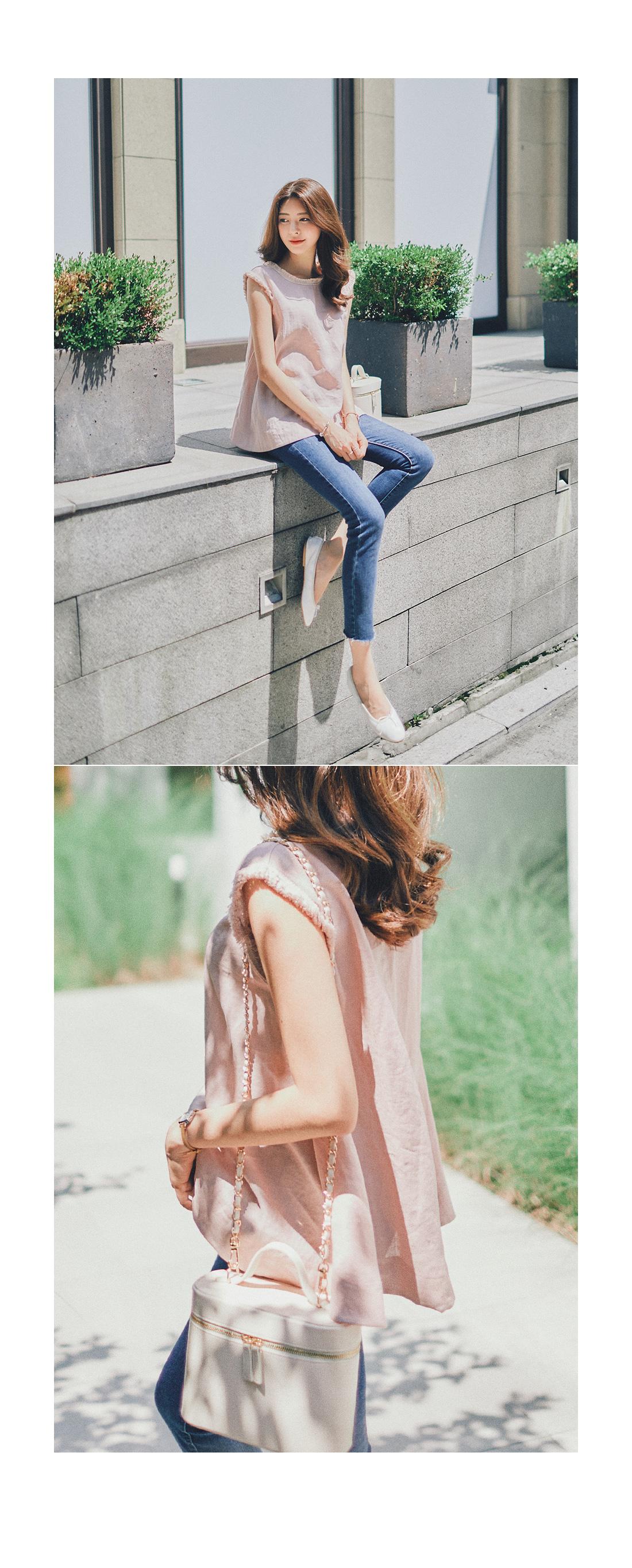Romantic linen sash blouse #105883
