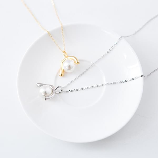 Bold Pearl Pendant Long Necklace #85025