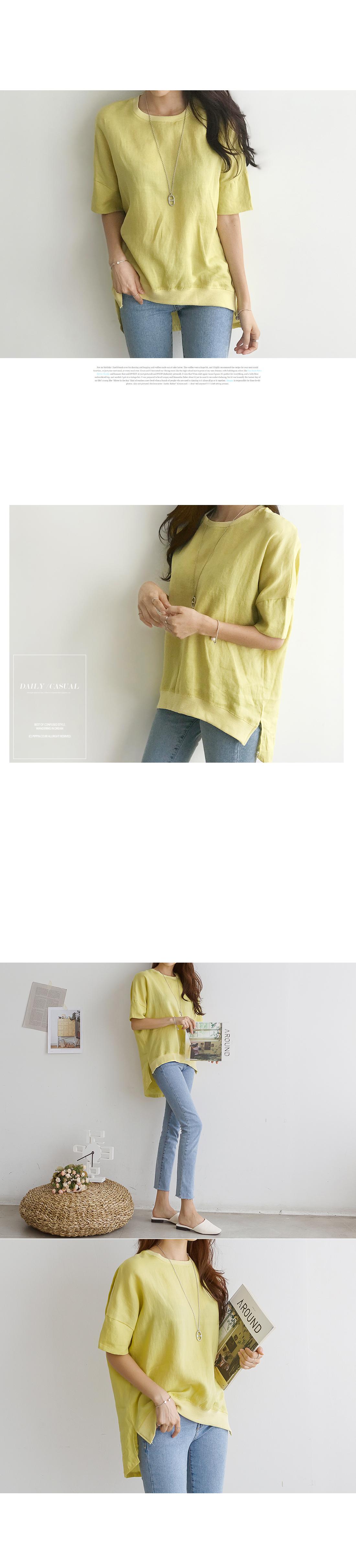 Slit linen T-shirt #105915F available