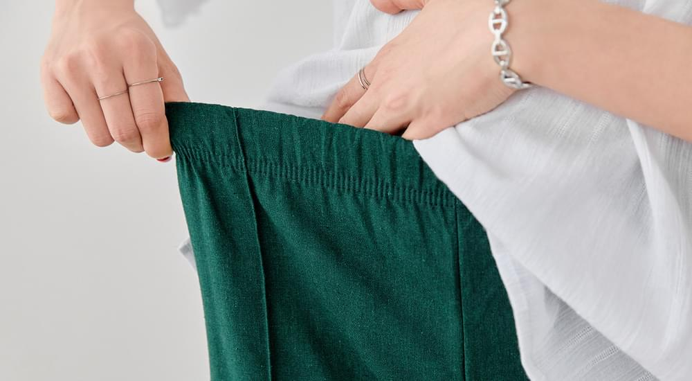 Straight Wide Fit Linen Pants #75352