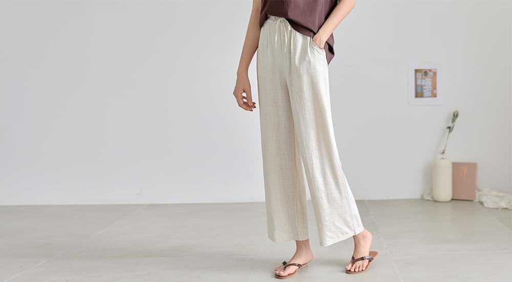 Linen string wide banding pants #75370
