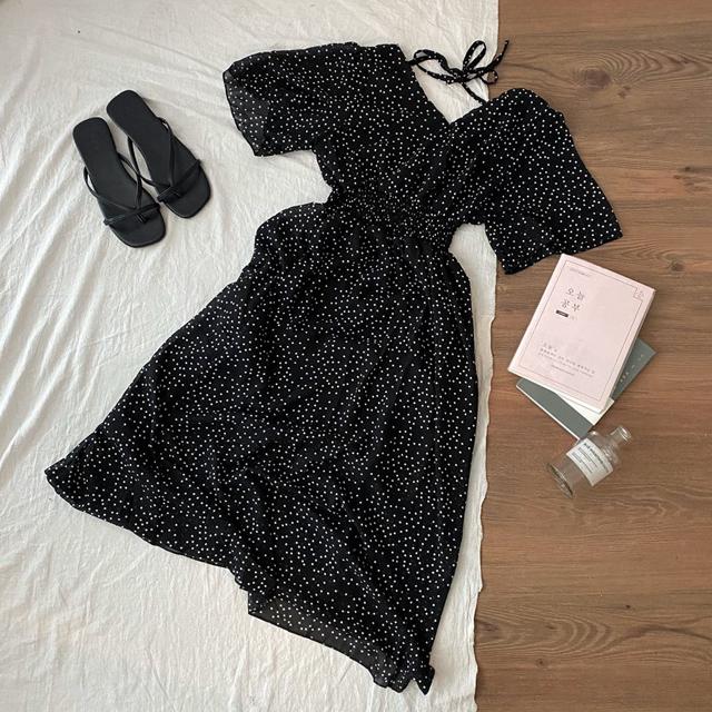 Dot smoke string chiffon dress