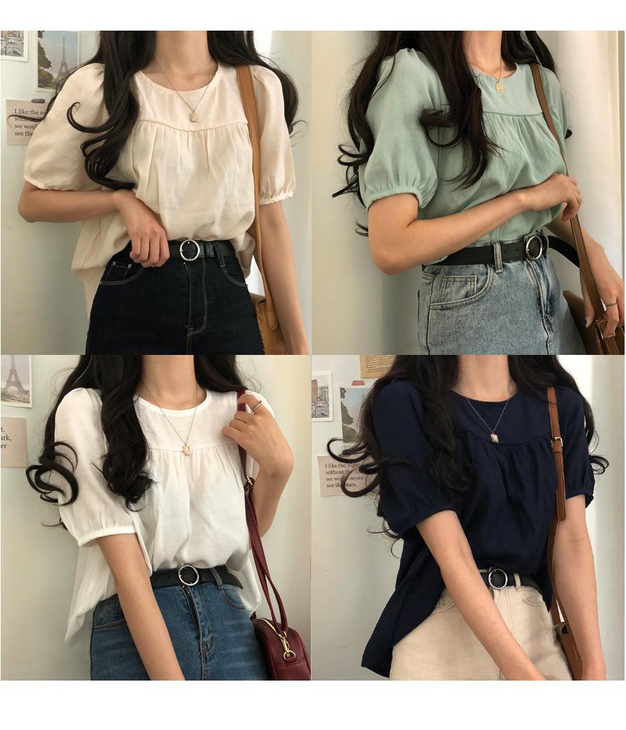 Hazel linen short sleeve blouse