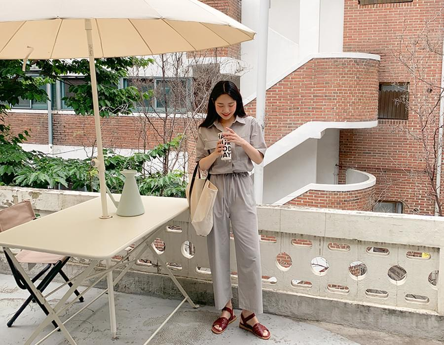 Double Pocket Short Sleeve Jumpsuit