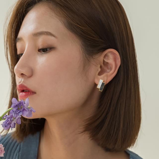 matt marble earring