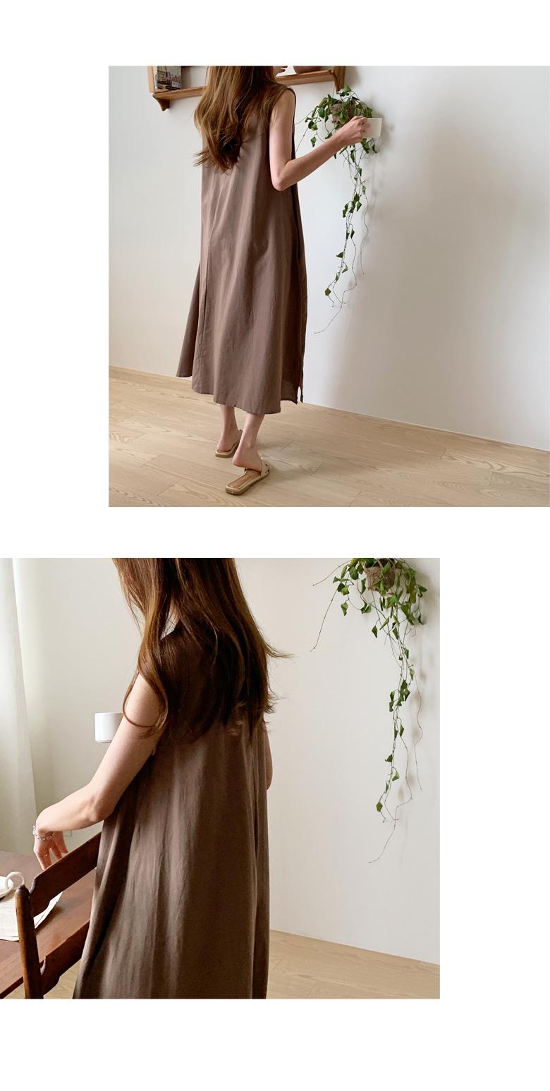 Slip linen flare long dress