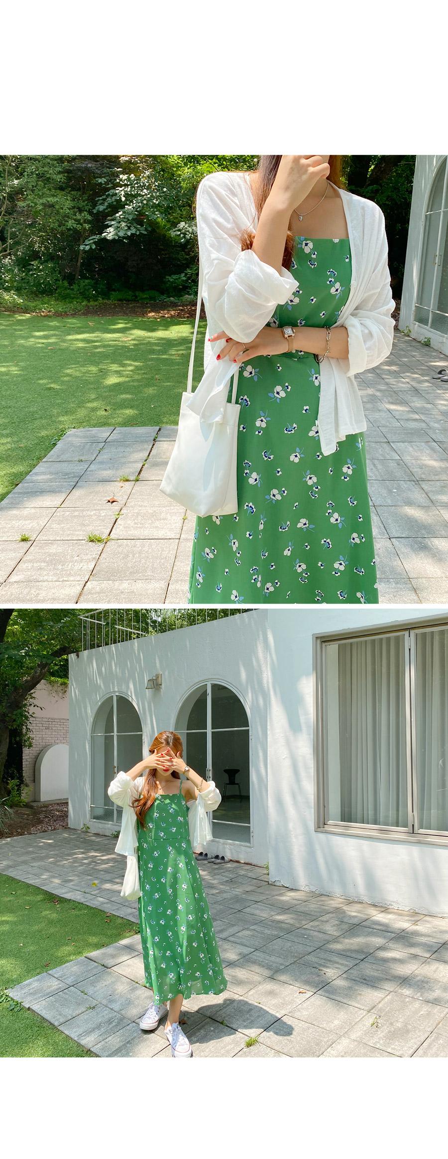 Tua Flower Sleeveless Long Flare Dress