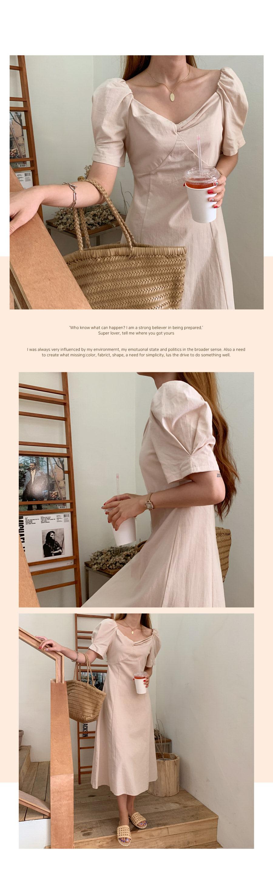 Elysee Linen Squared Long Dress