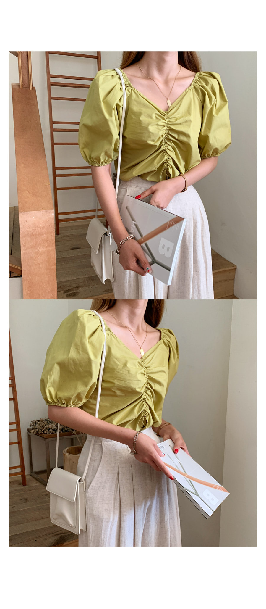 Oblancering Puff Blouse