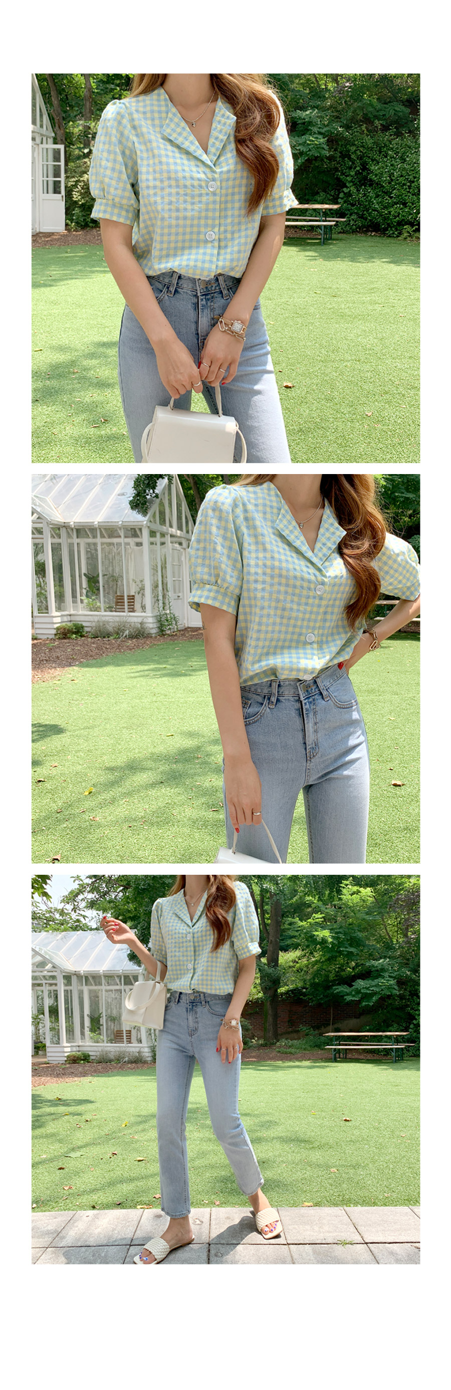 Check Rolling Open Color Blouse