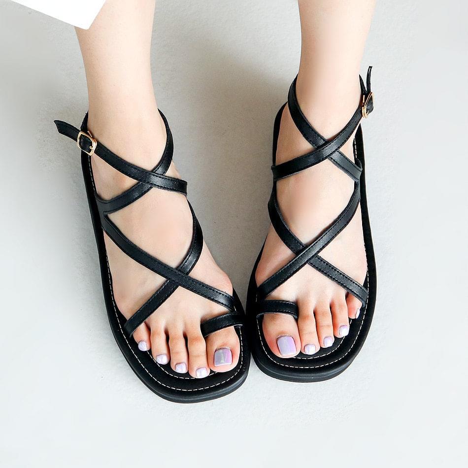 Ippel Leather Slit Slingback Sandals 2cm