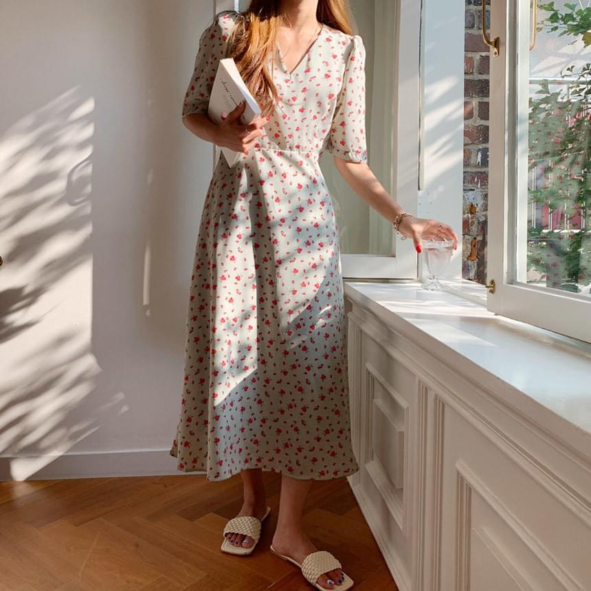 Cherry Blossom Flower Long Dress