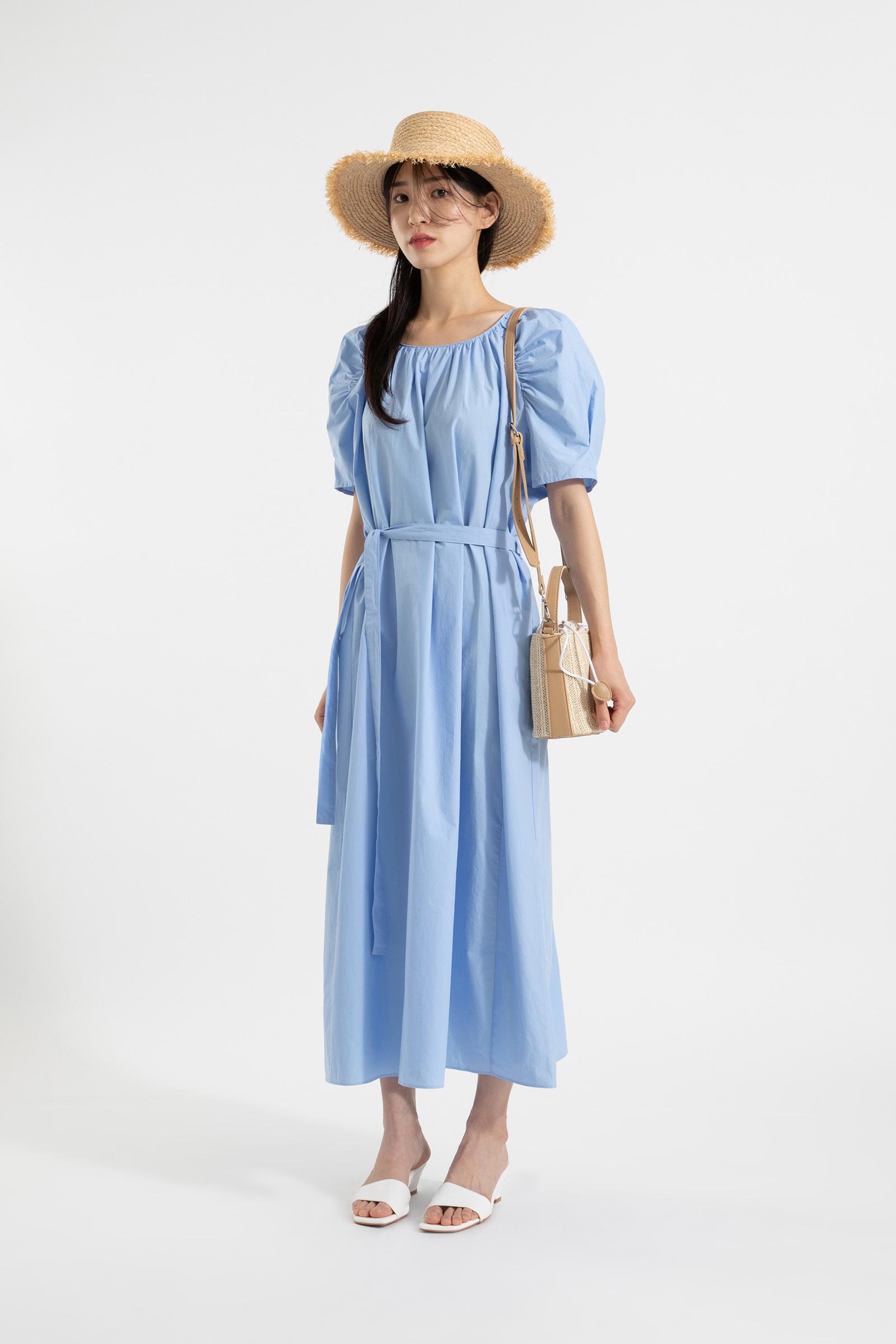 Marie Shoulder Shirring Maxi Dress