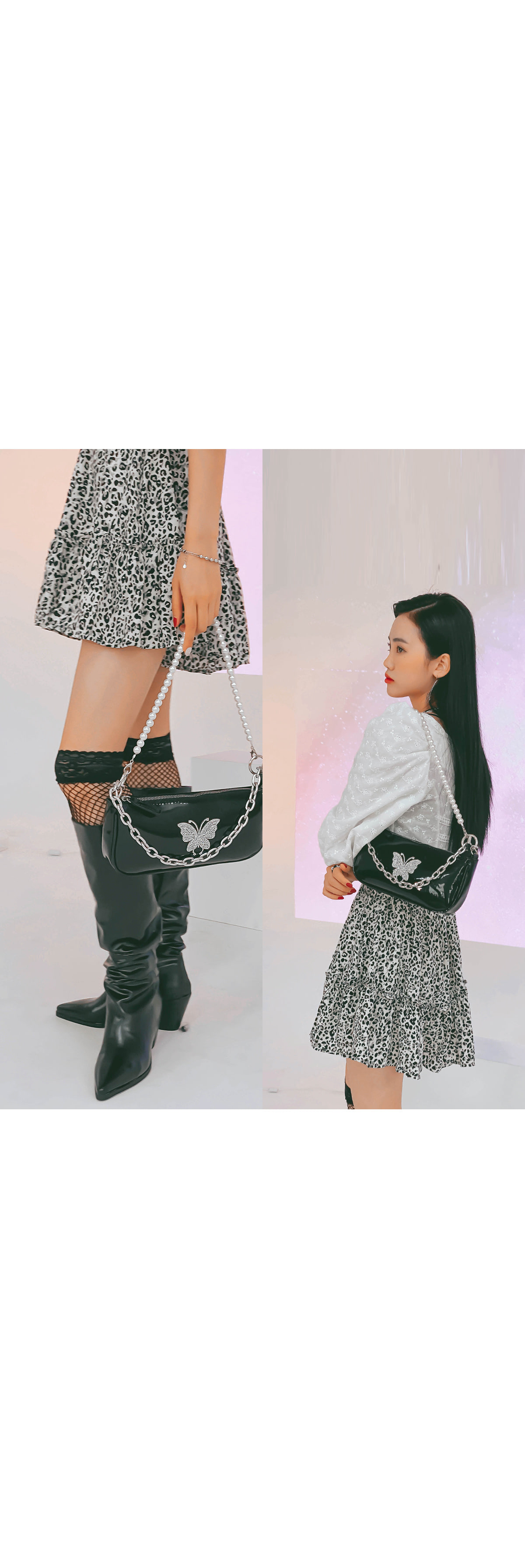 Leopard rib skirt pants